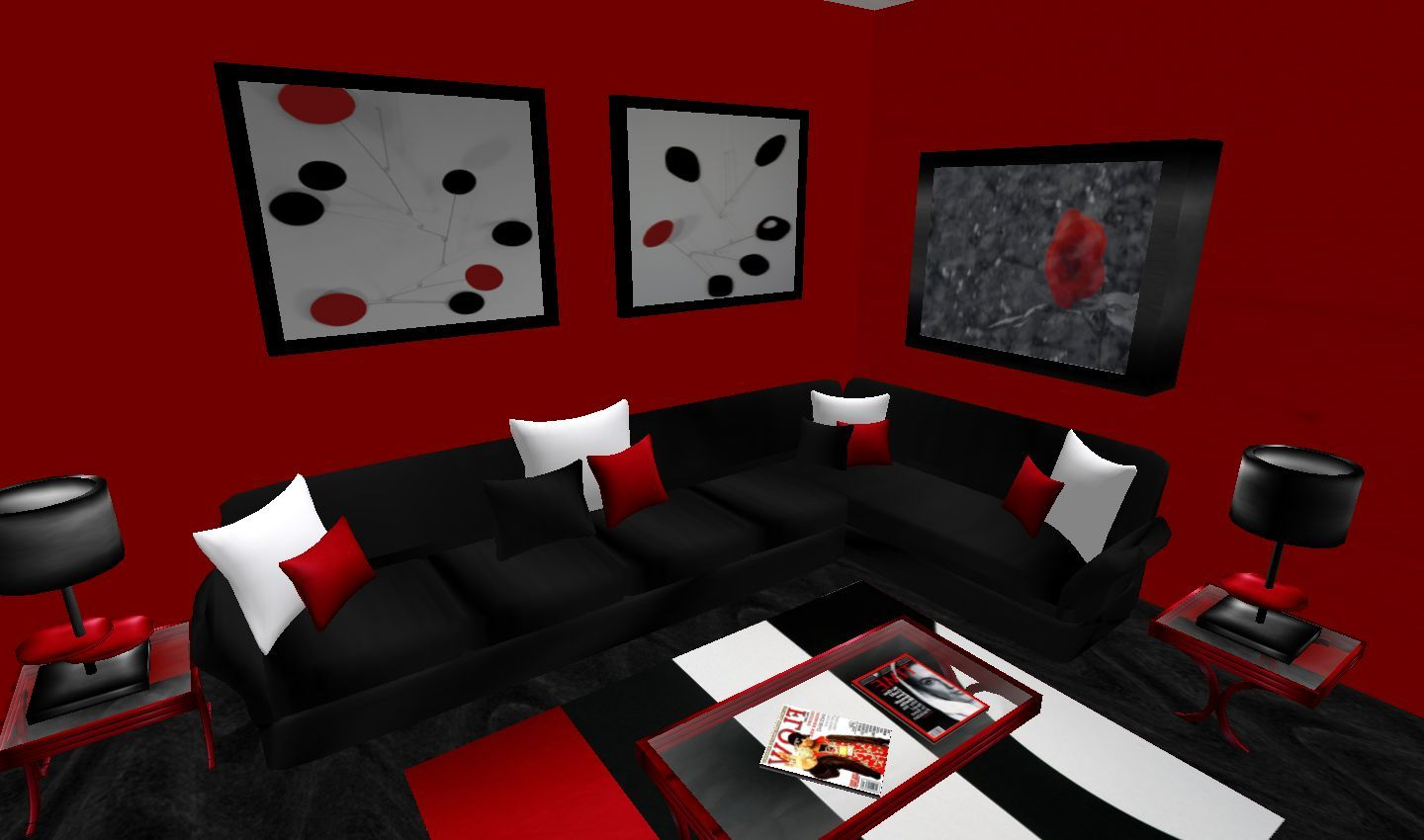 Black And Red Living Room Set Wild Country Fine Arts